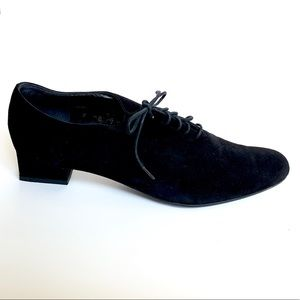 ROBERT CLERGERIE Black Suede Saddle Shoes